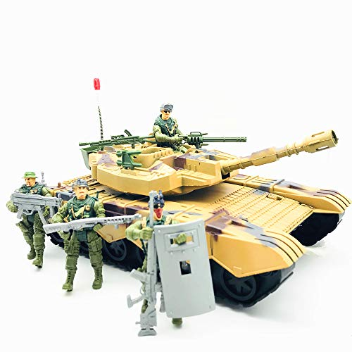 Fycooler Elite Desert Force Armored Military Tank Vehicle with 1/18 Scale Gunner Action Figure Soldier,2 Machine Guns,2 Utility Packs,2 Gunner Hatches for Kids Boys Indoor Outdoor Play Birthday Gift