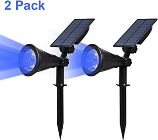 T-SUN Solar Spotlights LED Outdoor Wall Lights, Auto-on at Night/Auto-Off by Day, 180° Angle Adjustable Solar Lights for Tree, Patio, Yard, Garden, Driveway, Pool Area(Blue- 2 Pack)