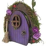 Puerta de hadas fantasía en color morado de madera con escoba. Producto artesanal