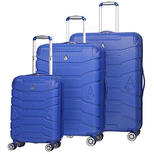 "Aerolite ABS Hard Shell Suitcase 3-Piece Luggage Set with 4 Wheels (21"" Cabin + Medium 25"" + Large 29"", Midnight Blue)"