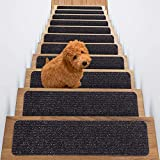 TreadSafe Carpet Stair Treads Non-Slip I 8'x30' Set of 15 I Charcoal Black I Non Slip Backing I Stair Runner for Safety - Elders, Kids, and Dogs ((15 Pack) Charcoal Color