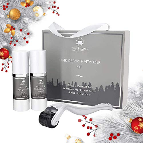 ZUSTBEAUTY | Hair Growth Derma Roller Microneedling Kit for Scalp, Face & Beard | 0.3MM Microneedle Roller | Microdermabrasion 540 Titanium Micro Needles | Includes Hair Growth Spray & Serum
