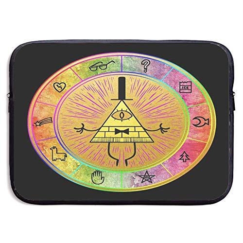 Gravity Falls Colorful Bill Cipher Wheel Gamergaminggame Gift Laptop Sleeve Case Compatible for 13 15 Inch MacBook Notebook Computer Tablet Protective Bag