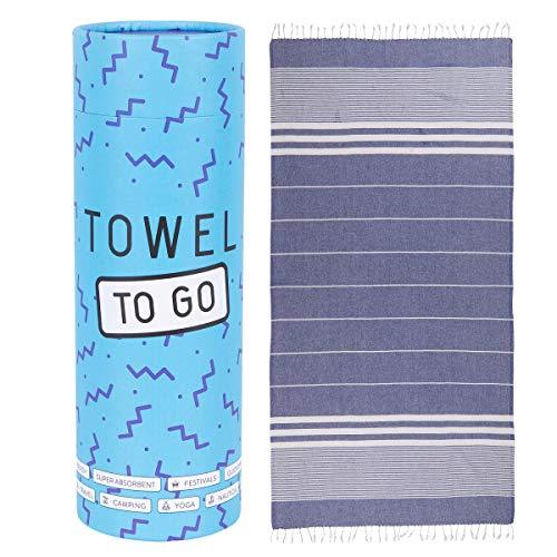 Towel to Go Oasis Hamamtuch Saunatuch Strandtuch Pestemal Reisehandtuch Wellnesstuch Baumwolle handgemacht Geschenkbox Geschenkidee Karton, Farbe:Blau