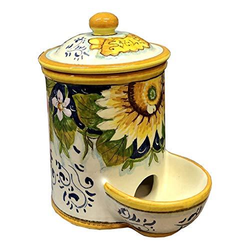 CERAMICHE D'ARTE PARRINI- Italienische Kunstkeramik, jar salz Dekoration sonnenblume, handgemalt, hergestellt in Italien Toscana