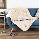 PETMAKER Waterproof Pet Blanket – 60inx50in Soft Plush Throw Protects Couch, Chair, Car, Bed from Spills, Stains or Fur-Machine Washable (Cream)