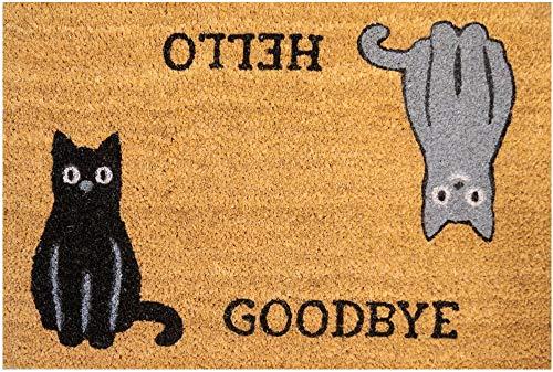 matches21 HOME & HOBBY Deurmat vloerschraper KOKOS kokosmat motief HELLO CATS GOODBYE 40x60x1,5 cm antislip achterkant