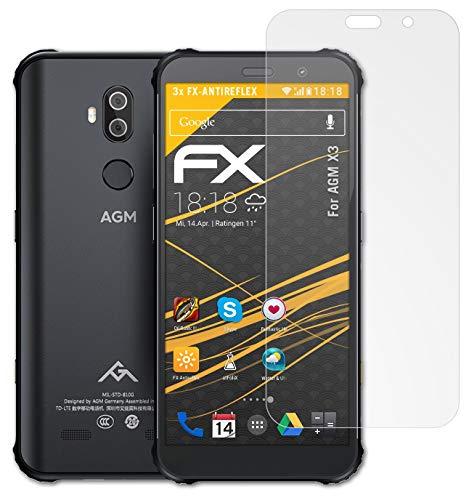 atFolix Panzerfolie kompatibel mit AGM X3 Schutzfolie, entspiegelnde & stoßdämpfende FX Folie (3X)