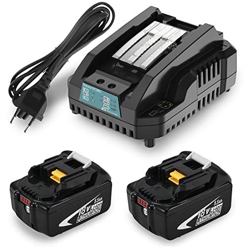 2Packs Moticett BL1860 18V Baterías de reemplazo de iones de litio y 14.4V-18V 3A Cargador de reemplazo DC18RC para BL1830 BL1850 BL1840 BL1430 BL1415