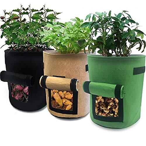 Grand pot de plantation avec rabat et poignées pour fraise, tomate, carotte, fleurs et légumes medium (30d*35h) 26 liters / 7 gallons Lot de 3 pièces.