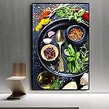 ganlanshu Cocina Moderna decoración Pintura Mezcla Hierbas y Especias Lienzo Arte condimento Restaurante decoración,Pintura sin Marco,75x112cm