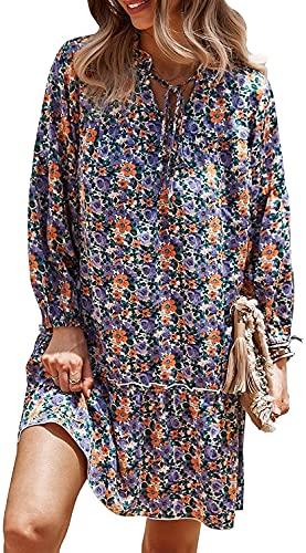 Frauen Neue Casual lose gefaltete schwingen Mini Kleid Lange hülse Krawatte rüschen floral Print Boho Kleid (Floral-Purple,XL,XL)