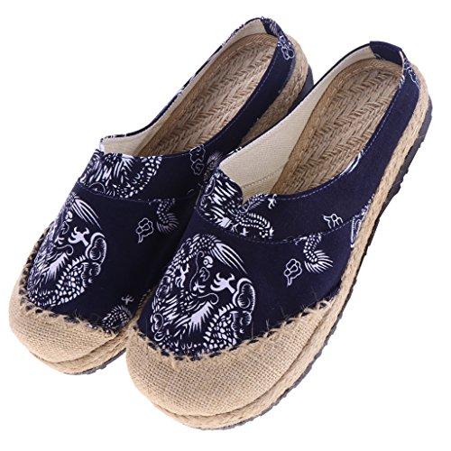 Sharplace Chaussures à Bout Rond Chaussures Style Chinois Totem Chaussures à Enfiler Unisexe - Bleu foncé, 40