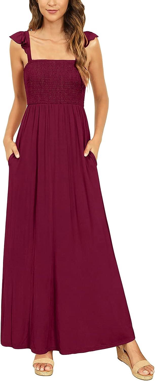 Zattcas Women's Summer Square Neck Ruffle Strap Smocked Maxi Dress with Pockets