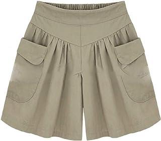Comaba Womens Leisure Baggy Midi Shorts Big Pockets Oversized Panties