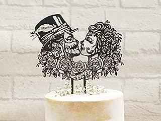 Rockabilly Wedding Cake Topper, Sugar Skull Cake Topper, Steampunk Wedding Cake Topper, Gothic Wedding, Victorian Wedding, Day of the Dead