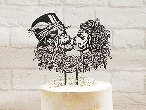 Decoración para tarta de boda Rockabilly con diseño de calavera de azúcar, decoración para tarta de boda steampunk, boda gótica, boda victoriana, día de los muertos