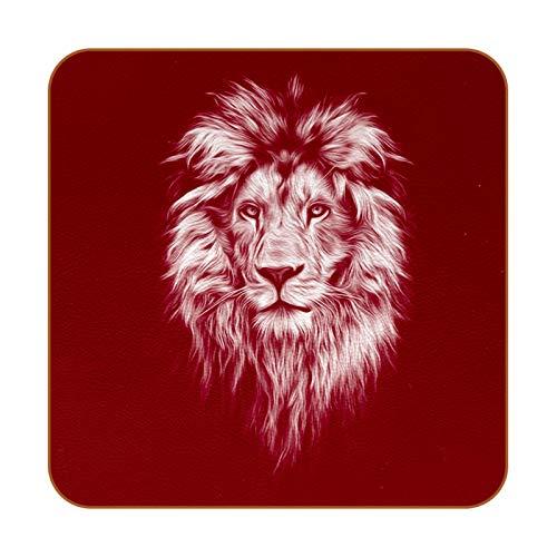 Posavasos de piel sintética con retrato de león para bebidas, paquete de 6 posavasos cuadrados para bebidas para el hogar o el bar, regalo de inauguración de la casa