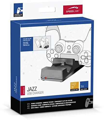 Speedlink JAZZ USB-lader - laadstation voor de originele Dualshock controller van Playstation 4 (twee gamepads tegelijkertijd laden - LED-weergave) voor gaming/console/PS4, zwart