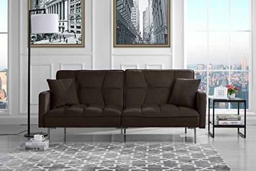 Modern Plush Tufted Velvet Splitback Living Room Futon (Brown)