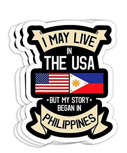 Philippines American Flag USA Filipino Roots Gift Decorations - 4x3 Vinyl Stickers, Laptop Decal, Water Bottle Sticker (Set of 3)
