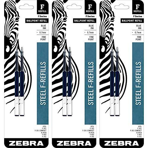 Zebra F-Refill, 0.7 Millimeter, Blue Ink, 2 Count (Pack of 3)