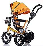 Niños trikes niños pequeños, con asa para padres 4 en 1 triciclo Cinturones de seguridad inteligentes para bebé Cochecito de cochecito (color: multicolor)