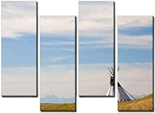 4 Panel Canvas Pictures Tipi on the Great Plains Home Decor Gifts Canvas Wall Art for your Living Room
