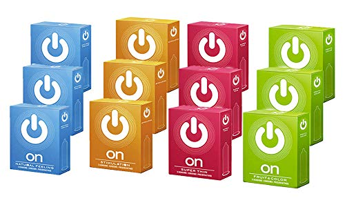 ON) Kondome - Mix - Set aus Natural Feeling, Stimulation, Fruit & Color und Superthin - 36 Stück (12x3er)