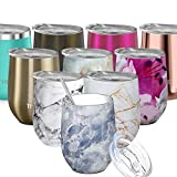 Vacuum Insulated Stemless Wine Tumbler - THILY Stainless Steel Travel Wine Glass with Lid and Straw, Reusable, Portable, BPA Free, Cute Gift for Birthday Party Christmas, Keep Beer Cold, Blue Marble