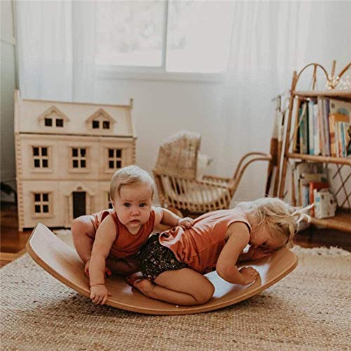 ZhiLianZhao Tabla De Balancín De Madera Madera Cuna para Bebé Tablero con Curvas Juguete con Mejorar El Equilibrio para Balanceo, Giro, Balanceo, Deslizamiento En Interiores,B