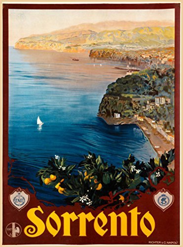 A SLICE IN TIME Sorrento Italian Coast Bay of Naples Italy Italian Europe Vintage European Travel Advertisment Art Poster Print. Poster Measures 10 x 13.5 inches