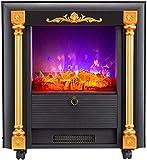 El calentador de estufa de chimenea eléctrica independiente, calentador de chimenea con fuego realista, fuego eléctrico montado en la pared con troncos 3D remotos y fuego, para la decoración de la ofi