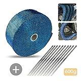 Auoker 10 m Auspuff-Wärmerolle für Motorrad Auto Gasrohr Fiberglas Hitzeschutzband Auspuff Schalldämpfer Rohr mit Edelstahlbindern, blau
