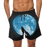 COOSUN Lobo del grito Luna View Beach Junta de secado rápido pantalones cortos de la nadada...