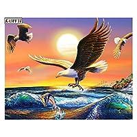 大人のアクリル顔料、3つの絵筆で塗装を描く、3つのペイントブラシでの絵画の描画 - 禿げたワシの描画 (Size : 30x40cm)