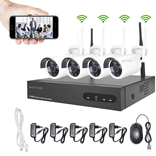 960P Kit Camaras Seguridad Vigilancia WiFi Aottom WiFi Kit Videovigilancia, Sistemas de Seguridad Inalambrico (4CH 1080P NVR+4 IP Cámaras), Visión nocturna, Detección De movimiento, P2P, IP66, sin HDD