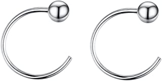 3mm Ball Half Small Piercing Hoop Studs Earrings for Cartilage Women Girls Sensitive Ears Sterling Silver Cuff Wrap Minimalist Huggie Hoops Nose Ring Hypoallergenic Gifts