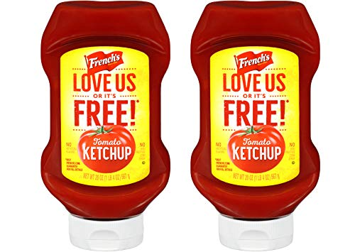 French's Tomato Ketchup, Gluten Free, No High Fructose Corn Syrup, 20oz Squeeze Bottle, Pack of 2