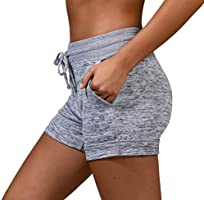 90 Degree by Reflex Soft Comfy Activewear Lounge Shorts with Pockets and Drawstring for Women