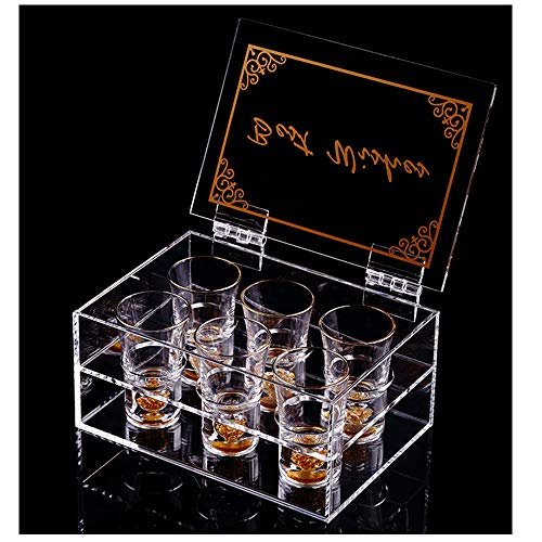 24K Gold Rimmed Shot Glasses (6 Pcs) 1.5Oz , With Arcylic Box,.Perfect Gift
