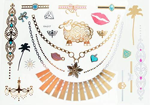ANDANTE Tatuajes adhesivos de purpurina para verano, Nochevieja, festival, impermeable, para mujer