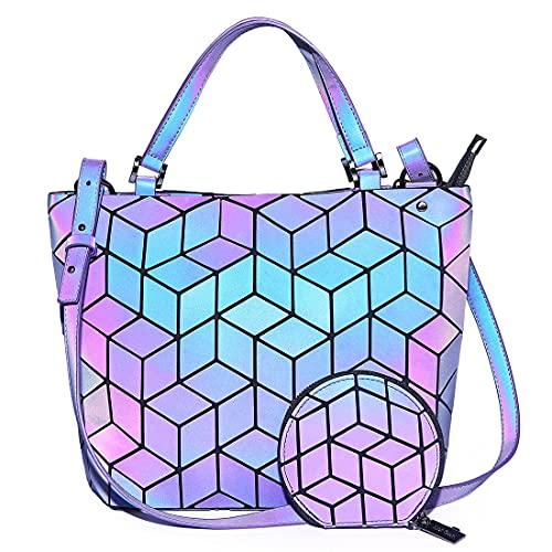 HotOne Geometric Backpack Holographic Reflektierende Rucksäcke Mode-Rucksack(Rucksack Nr. 1, M)
