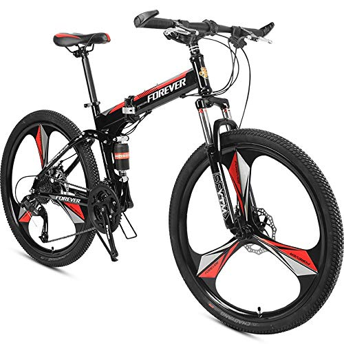 AI CHEN One Round Mountain Bike Estudiante Hombres y Mujeres Frenos de Doble Disco Plegables Bicicleta de Cambio 26 Pulgadas 24 Velocidad