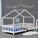Cama para niños de Madera Pino 90 x 200 cm Cama Infantil con Reja Protectora Casita Forma de casa Blanco Mate Lacado