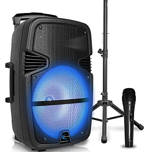 Technical Pro 3000 Watts Rechargeable 15 Inch Bluetooth LED Portable PA Speaker with Built-in LCD Screen, Microphone, Stand, SD Card, MP3 and USB connectivity with Wireless Remote, Great for Events