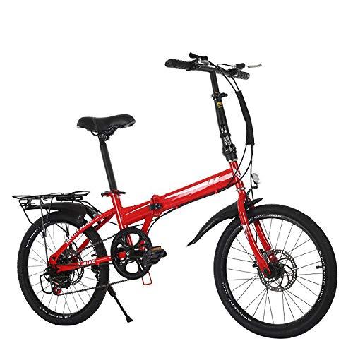CEALEONE Faltrad, Groß für Stadt REIT- und Pendel, Mit Low Step-Through Stahlrahmen, Single-Speed-Antrieb, Front- und Heckkotflügel,Rot