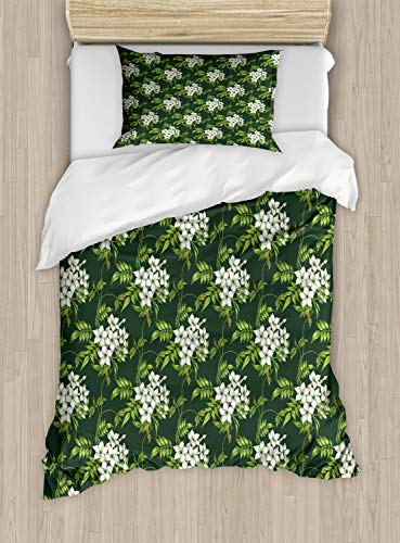 ABAKUHAUS Jasmijn Dekbedovertrekset, planten Bouquet, Decoratieve 2-delige Bedset met 1 siersloop, 130 cm x 200 cm, Apple Green Off White