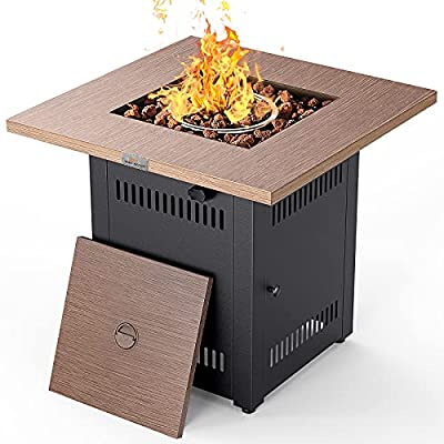 """Propane Fire Pit Table, LEGACY HEATING 28"""" Gas Fire Pit 50000 BTU Outdoor Square Fireplace with Faux Wood Grain Design, Lid, Lava Rock, ETL Certification for Outside Patio Garden Backyard"""