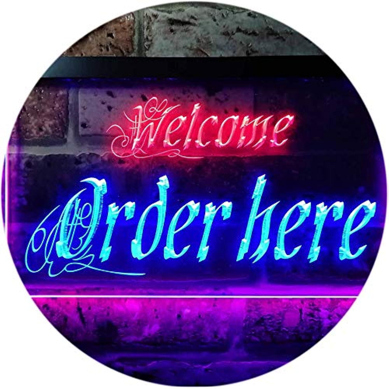 ADVPRO Welcome Order Here Shop Cashier Dual Farbe LED Barlicht Neonlicht Lichtwerbung Neon Sign Blau & rot 400mm x 300mm st6s43-j0695-br